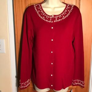 Beautiful red with pearl cardigan Emma James XLP